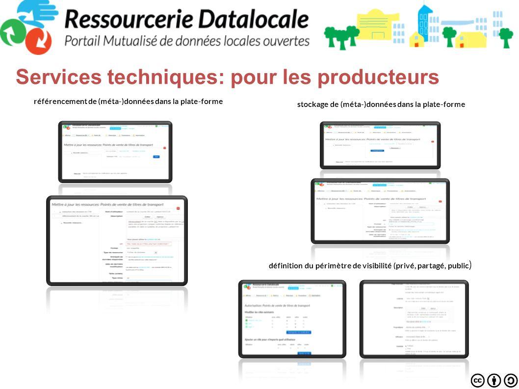 Services techniques: pour les utilisateurs pour les utilisateurs Pré-visualisation et téléchargement des jeux de données Recherche dans les données stockées en CSVédition en ligne des jeux de données Recherche à facette dans les métadonnées