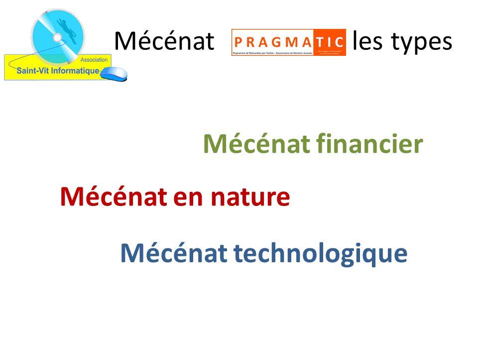 Mécénat les types Mécénat financier Mécénat en nature Mécénat technologique
