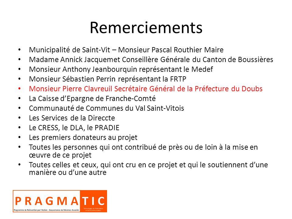 Remerciements Municipalité de Saint-Vit – Monsieur Pascal Routhier Maire Madame Annick Jacquemet Conseillère Générale du Canton de Boussières Monsieur