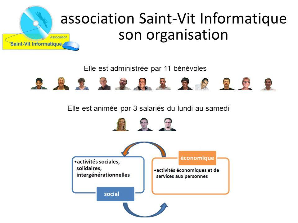 association Saint-Vit Informatique son organisation Elle est administrée par 11 bénévoles Elle est animée par 3 salariés du lundi au samedi