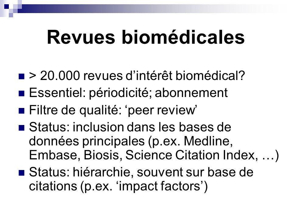 Revues biomédicales > 20.000 revues dintérêt biomédical? Essentiel: périodicité; abonnement Filtre de qualité: peer review Status: inclusion dans les