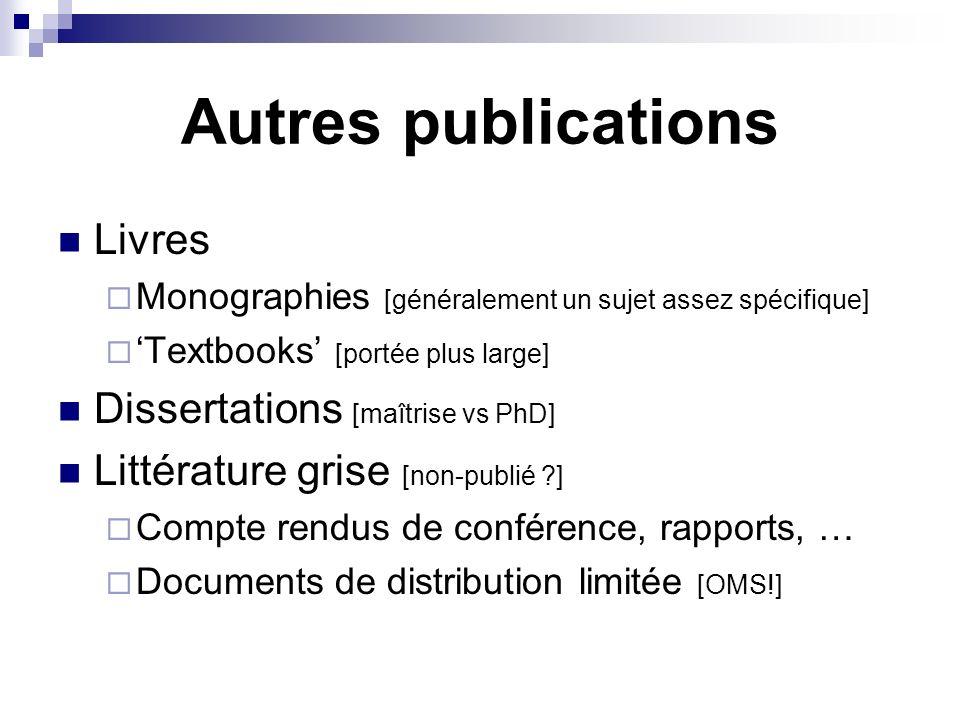Autres publications Livres Monographies [généralement un sujet assez spécifique] Textbooks [portée plus large] Dissertations [maîtrise vs PhD] Littéra
