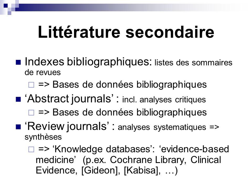 Littérature secondaire Indexes bibliographiques: listes des sommaires de revues => Bases de données bibliographiques Abstract journals : incl. analyse