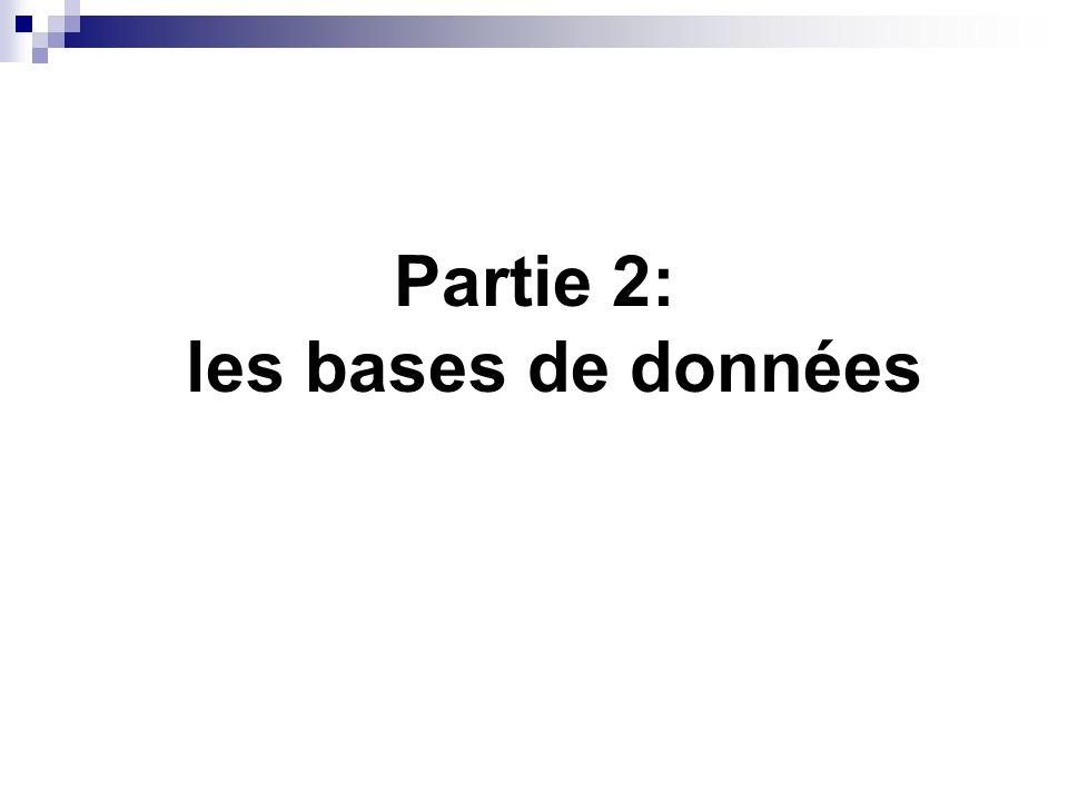 Partie 2: les bases de données