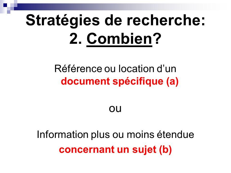 Stratégies de recherche: 2. Combien? Référence ou location dun document spécifique (a) ou Information plus ou moins étendue concernant un sujet (b)