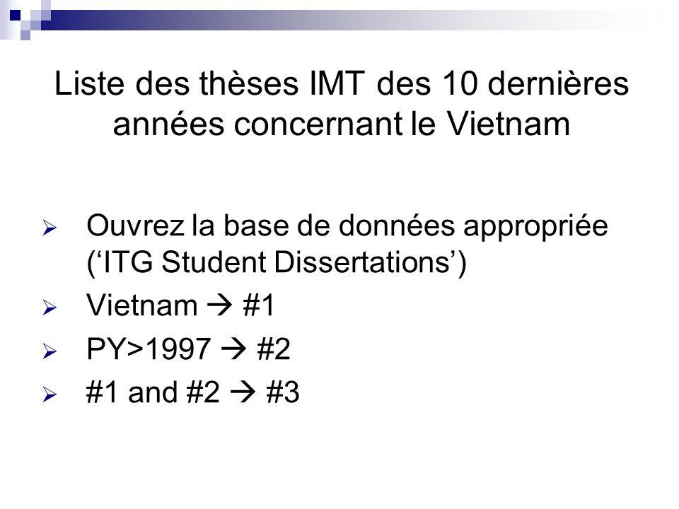 Liste des thèses IMT des 10 dernières années concernant le Vietnam Ouvrez la base de données appropriée (ITG Student Dissertations) Vietnam #1 PY>1997 #2 #1 and #2 #3