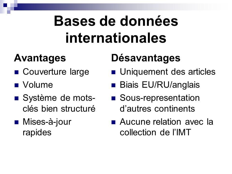 Bases de données internationales Avantages Couverture large Volume Système de mots- clés bien structuré Mises-à-jour rapides Désavantages Uniquement d
