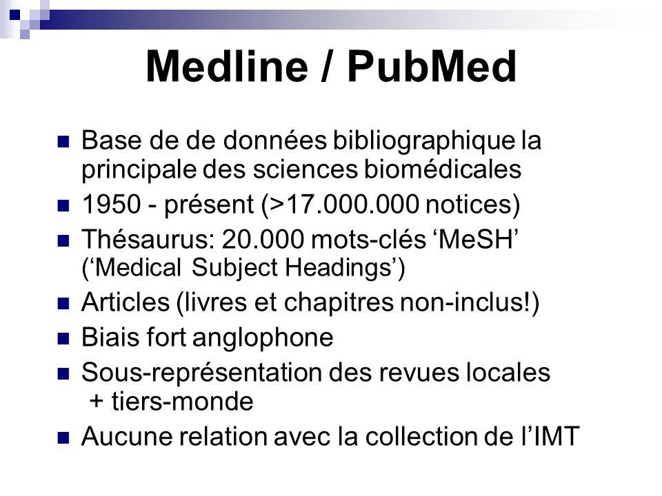 Medline / PubMed Base de de données bibliographique la principale des sciences biomédicales 1950 - présent (>17.000.000 notices) Thésaurus: 20.000 mots-clés MeSH (Medical Subject Headings) Articles (livres et chapitres non-inclus!) Biais fort anglophone Sous-représentation des revues locales + tiers-monde Aucune relation avec la collection de lIMT