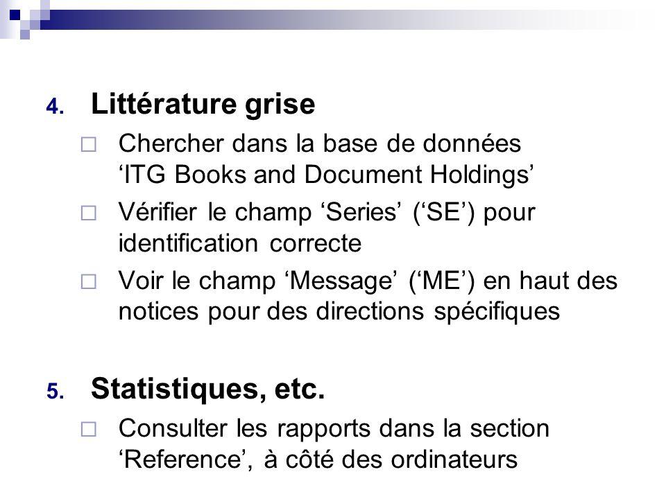 4. Littérature grise Chercher dans la base de données ITG Books and Document Holdings Vérifier le champ Series (SE) pour identification correcte Voir