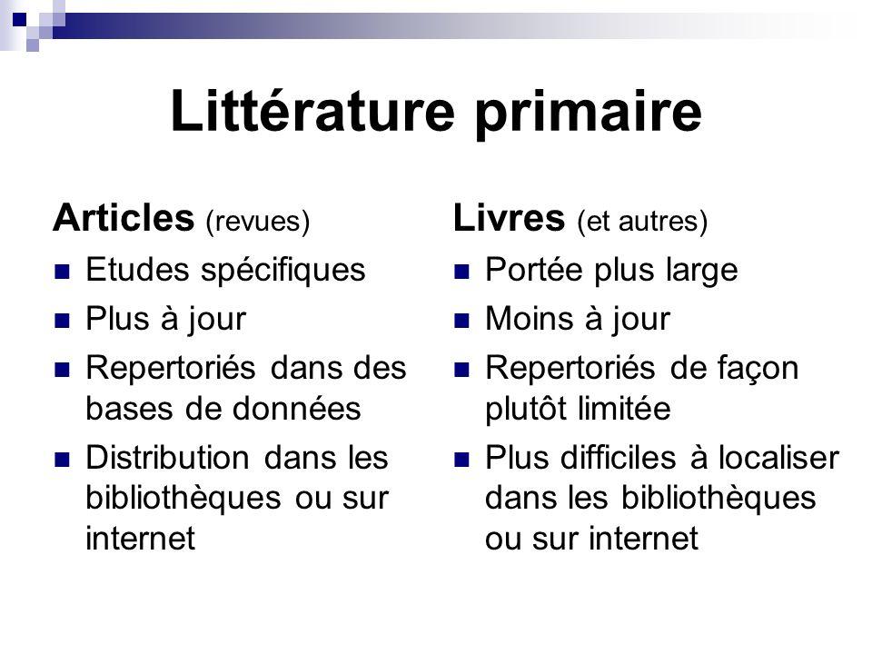 Littérature primaire Articles (revues) Etudes spécifiques Plus à jour Repertoriés dans des bases de données Distribution dans les bibliothèques ou sur