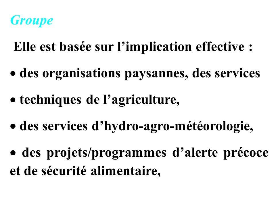 Groupe Elle est basée sur limplication effective : des organisations paysannes, des services techniques de lagriculture, des services dhydro-agro-météorologie, des projets/programmes dalerte précoce et de sécurité alimentaire,