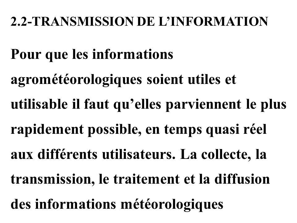 2.2-TRANSMISSION DE LINFORMATION Pour que les informations agrométéorologiques soient utiles et utilisable il faut quelles parviennent le plus rapidement possible, en temps quasi réel aux différents utilisateurs.