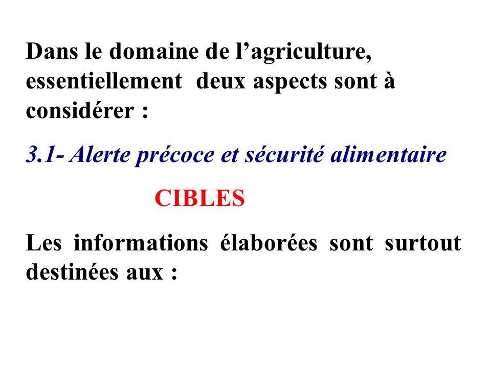 Dans le domaine de lagriculture, essentiellement deux aspects sont à considérer : 3.1- Alerte précoce et sécurité alimentaire CIBLES Les informations élaborées sont surtout destinées aux :
