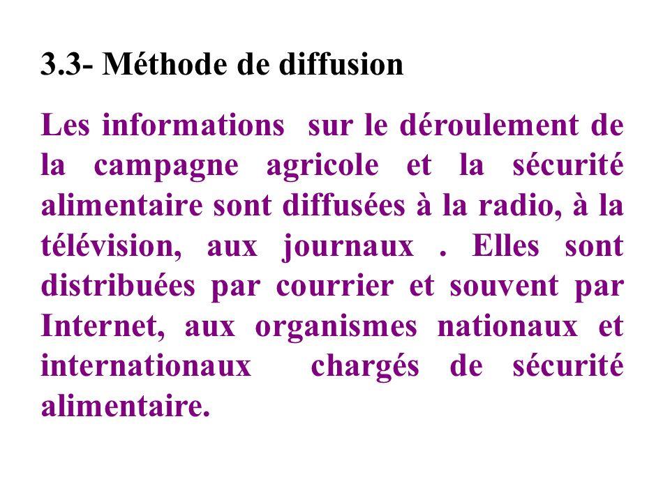 3.3- Méthode de diffusion Les informations sur le déroulement de la campagne agricole et la sécurité alimentaire sont diffusées à la radio, à la télévision, aux journaux.