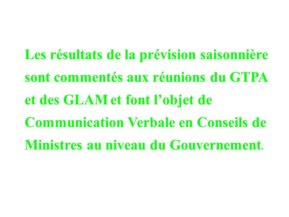 Les résultats de la prévision saisonnière sont commentés aux réunions du GTPA et des GLAM et font lobjet de Communication Verbale en Conseils de Ministres au niveau du Gouvernement.