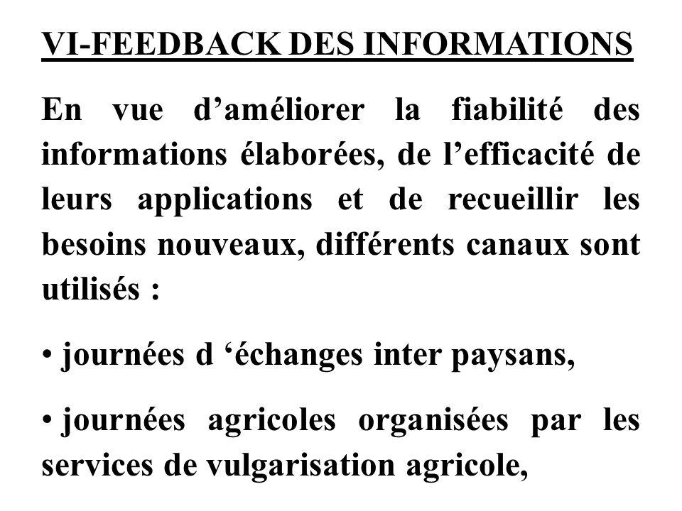 VI-FEEDBACK DES INFORMATIONS En vue daméliorer la fiabilité des informations élaborées, de lefficacité de leurs applications et de recueillir les besoins nouveaux, différents canaux sont utilisés : journées d échanges inter paysans, journées agricoles organisées par les services de vulgarisation agricole,