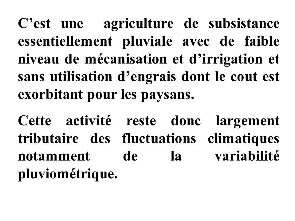 Cest une agriculture de subsistance essentiellement pluviale avec de faible niveau de mécanisation et dirrigation et sans utilisation dengrais dont le cout est exorbitant pour les paysans.