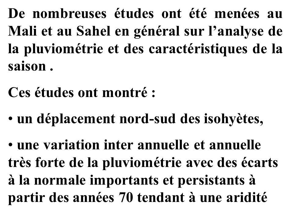 De nombreuses études ont été menées au Mali et au Sahel en général sur lanalyse de la pluviométrie et des caractéristiques de la saison.
