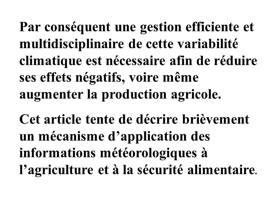 IIAPPROCHE METHODOLOGIQUE 2.1 –Intervenants Lapplication des informations et avis agrométéorologiques en agriculture revêt un caractère pluridisciplinaire.