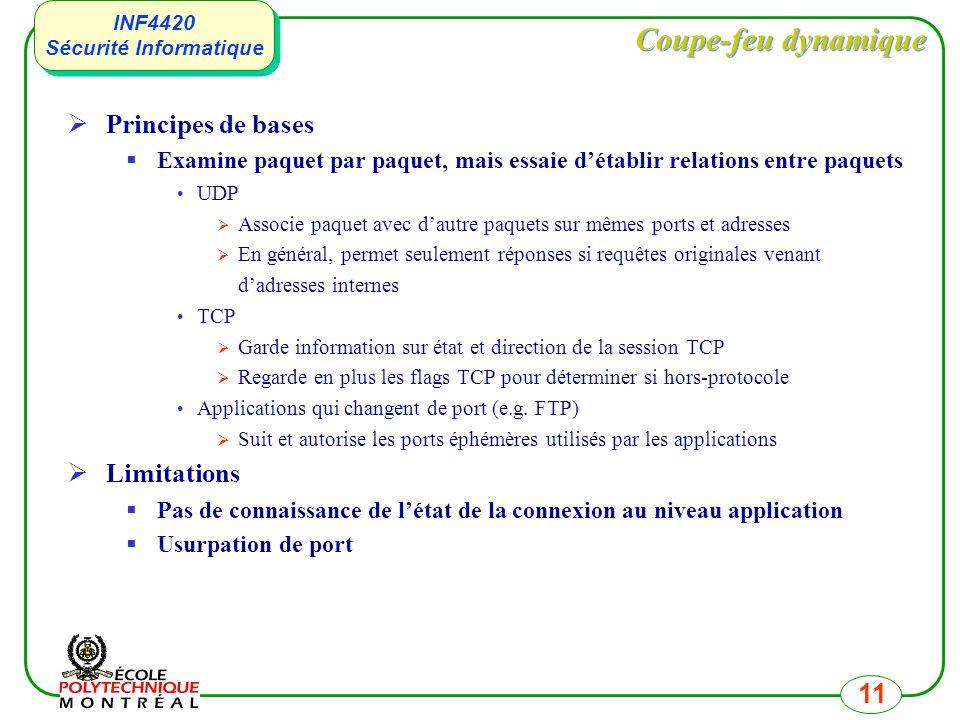 INF4420 Sécurité Informatique INF4420 Sécurité Informatique 11 Coupe-feu dynamique Principes de bases Examine paquet par paquet, mais essaie détablir relations entre paquets UDP Associe paquet avec dautre paquets sur mêmes ports et adresses En général, permet seulement réponses si requêtes originales venant dadresses internes TCP Garde information sur état et direction de la session TCP Regarde en plus les flags TCP pour déterminer si hors-protocole Applications qui changent de port (e.g.