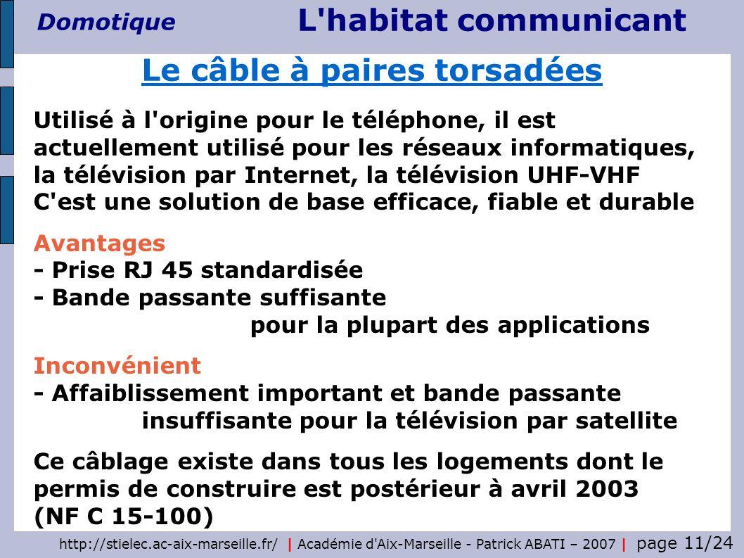 http://stielec.ac-aix-marseille.fr/ | Académie d'Aix-Marseille - Patrick ABATI – 2007 | page 11/24 L'habitat communicant Domotique Utilisé à l'origine