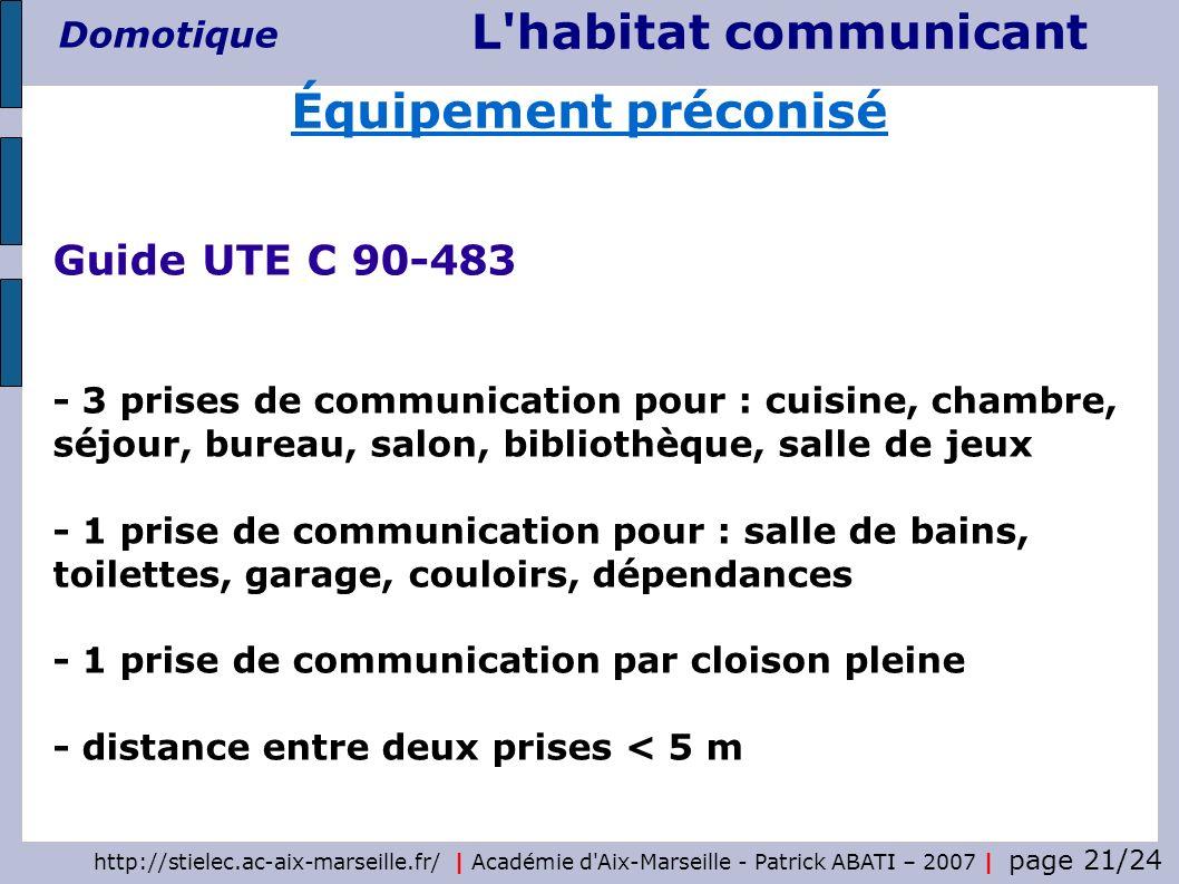 http://stielec.ac-aix-marseille.fr/ | Académie d'Aix-Marseille - Patrick ABATI – 2007 | page 21/24 L'habitat communicant Domotique Guide UTE C 90-483