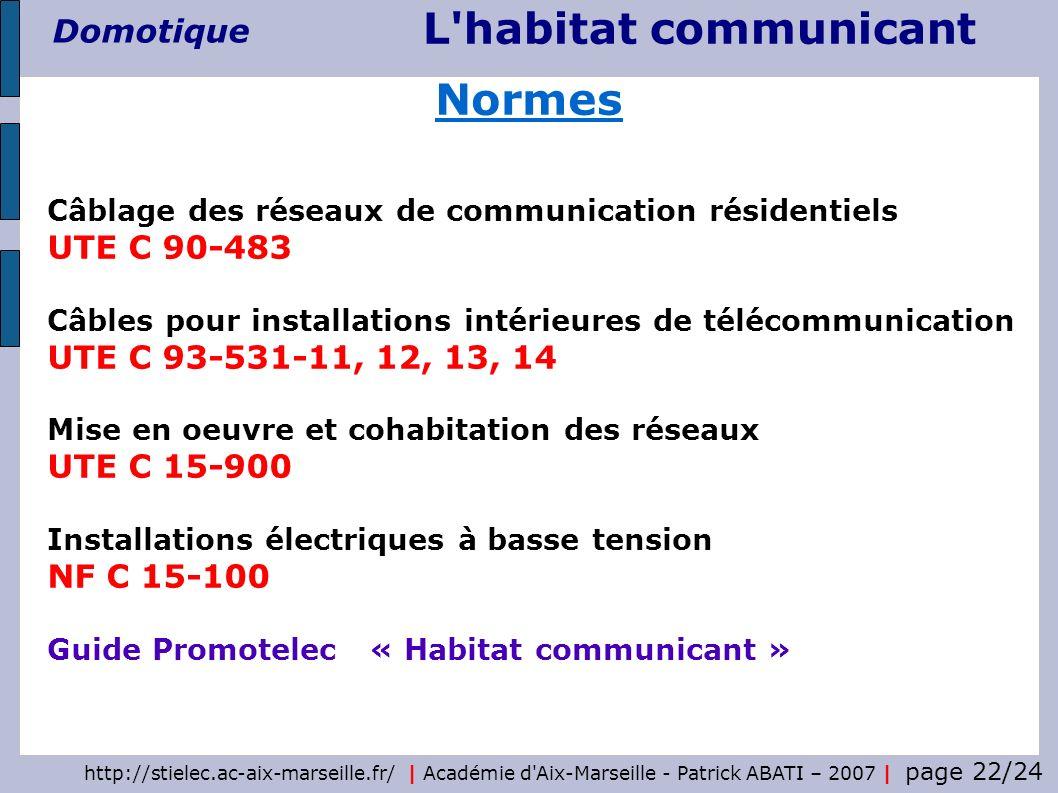 http://stielec.ac-aix-marseille.fr/ | Académie d'Aix-Marseille - Patrick ABATI – 2007 | page 22/24 L'habitat communicant Domotique Câblage des réseaux