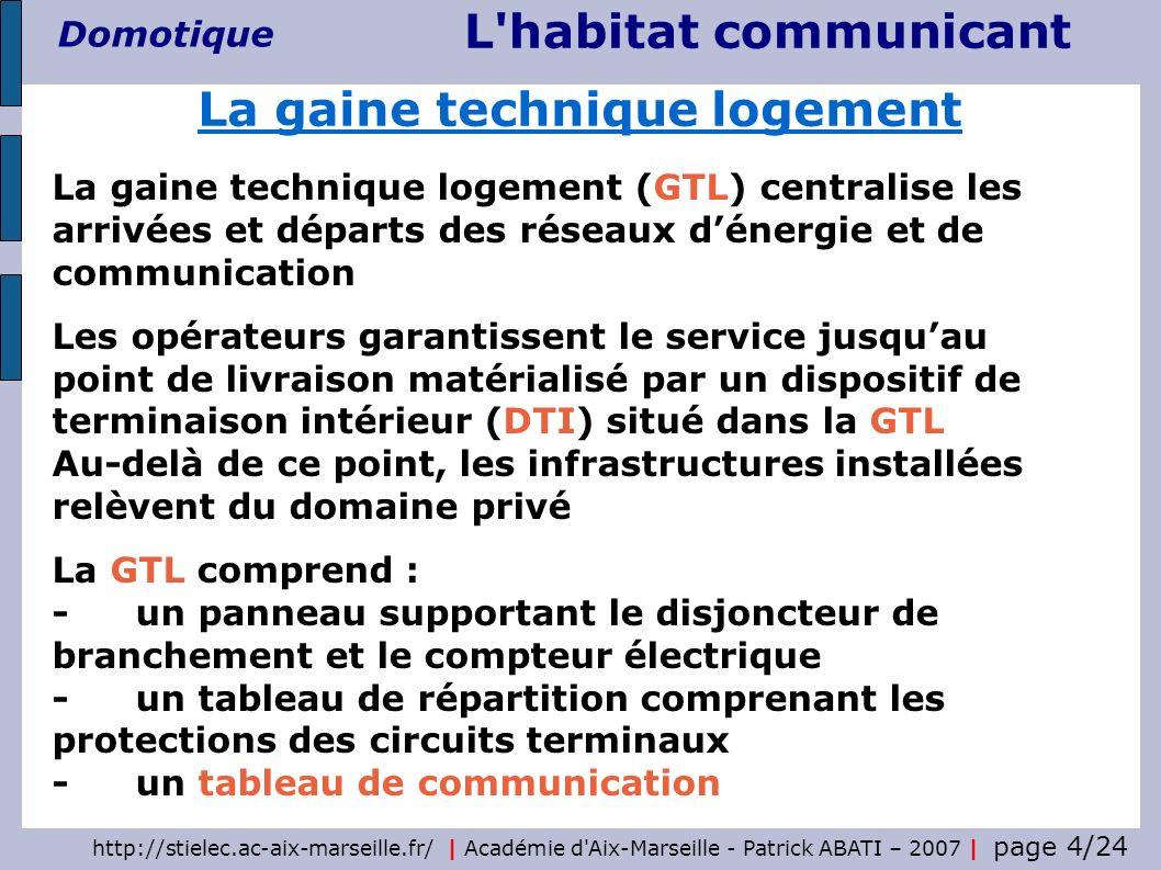 http://stielec.ac-aix-marseille.fr/ | Académie d Aix-Marseille - Patrick ABATI – 2007 | page 5/24 L habitat communicant Domotique - placé dans la GTL - dimensions minimales 250x225x70 mm - au moins une barrette de terre - au moins un rail (préconisations de la norme NF C 15-100 - partie 7-771) coffret XL VDI 19 pivotant IP 20 et IK 08 capacité : 9 U, 12 U, 16 U ou 21 U profondeur : 600 mm largeur : 600 mm charge admissible : 3 kg / U Ce tableau reçoit le point de livraison de lopérateur Il intègre également un répartiteur permettant daffecter par brassage, les ressources aux différentes prises de communication du logement Le tableau de communication