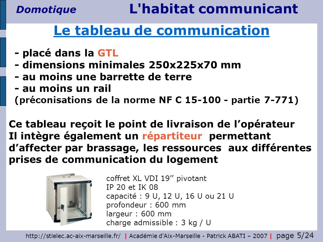 http://stielec.ac-aix-marseille.fr/ | Académie d'Aix-Marseille - Patrick ABATI – 2007 | page 5/24 L'habitat communicant Domotique - placé dans la GTL