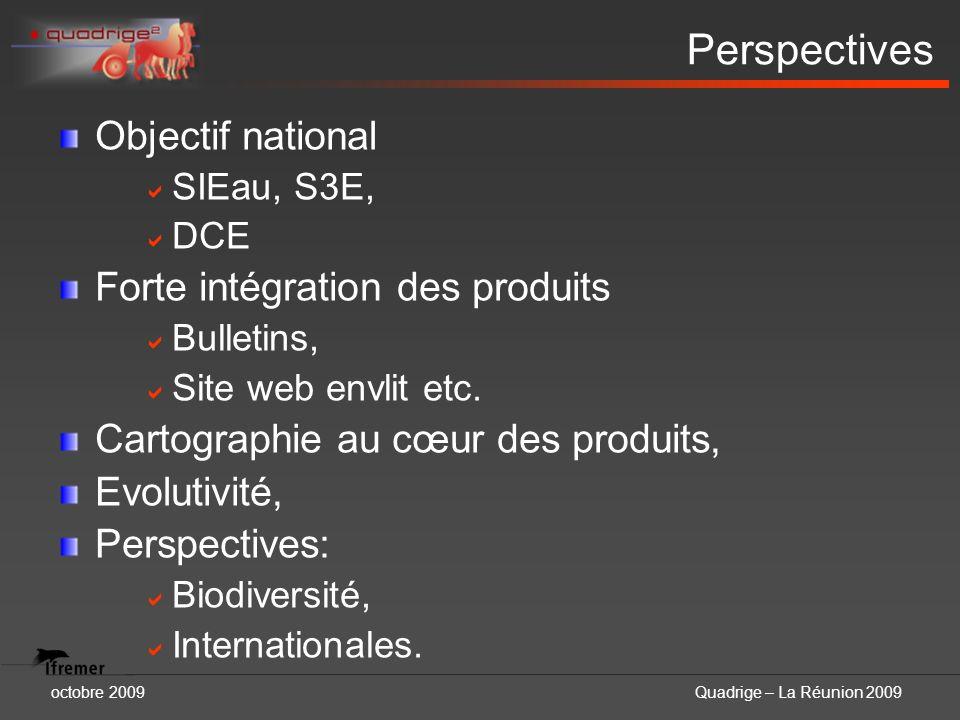 octobre 2009Quadrige – La Réunion 2009 Perspectives Objectif national SIEau, S3E, DCE Forte intégration des produits Bulletins, Site web envlit etc. C