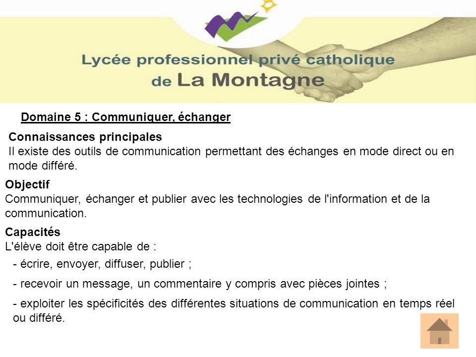 Domaine 5 : Communiquer, échanger Connaissances principales Il existe des outils de communication permettant des échanges en mode direct ou en mode di