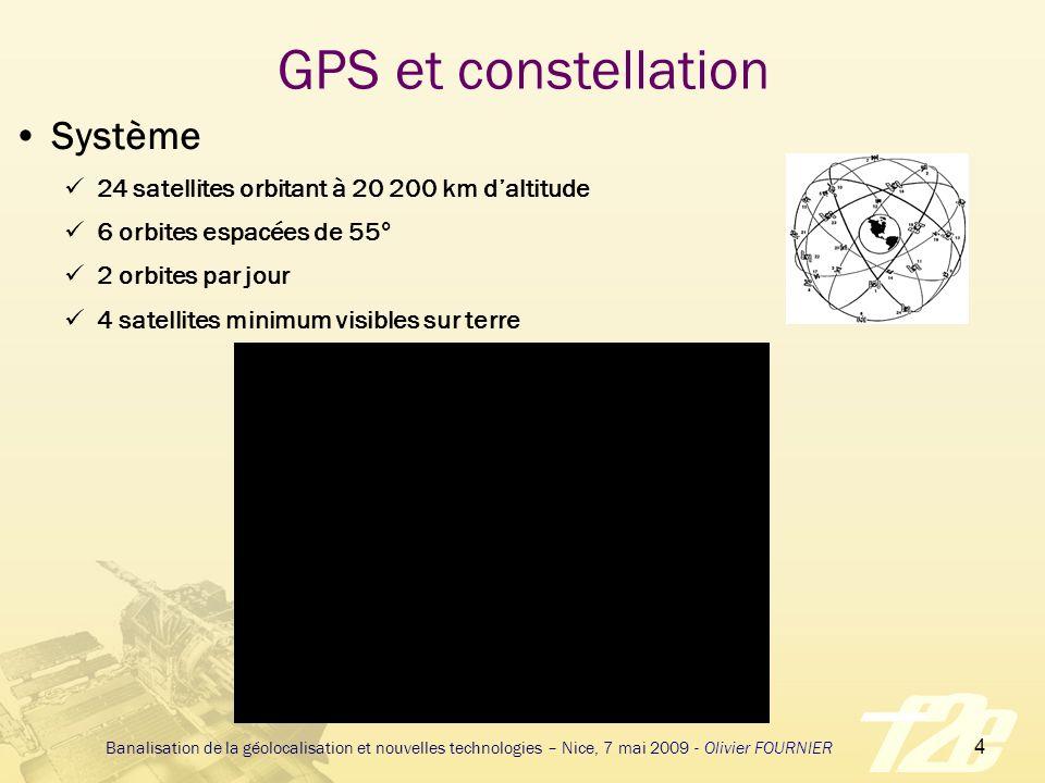 5 Banalisation de la géolocalisation et nouvelles technologies – Nice, 7 mai 2009 - Olivier FOURNIER GPS et signal émis Signaux codés sur L1 (1575,42Mhz) et L2 (1227,60Mhz) Signal complexe à large spectre Addition d un code pseudo-aléatoire et des données Signal civil émis sur L1 (code C/A) Chaque satellite a son propre code C/A Tous les codes C/A sont synchrones (Horloge atomique) Par corrélation le récepteur détermine l instant exact d émission Le code C/A peut être dégradé (Select Availability)