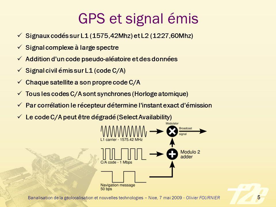 26 Banalisation de la géolocalisation et nouvelles technologies – Nice, 7 mai 2009 - Olivier FOURNIER 2005 – La géolocalisation se banalise Le récepteur est un composant La consommation est de 30mA sous 3,3V Les GPS sont des 16 canaux Son TTFF devient inférieur à 2 mn La cartographie fait son entrée dans les PDA Le récepteur GPS est associé à un GSM L A-GPS fait son apparition et permet des TTFF inférieurs à 30 secondes.