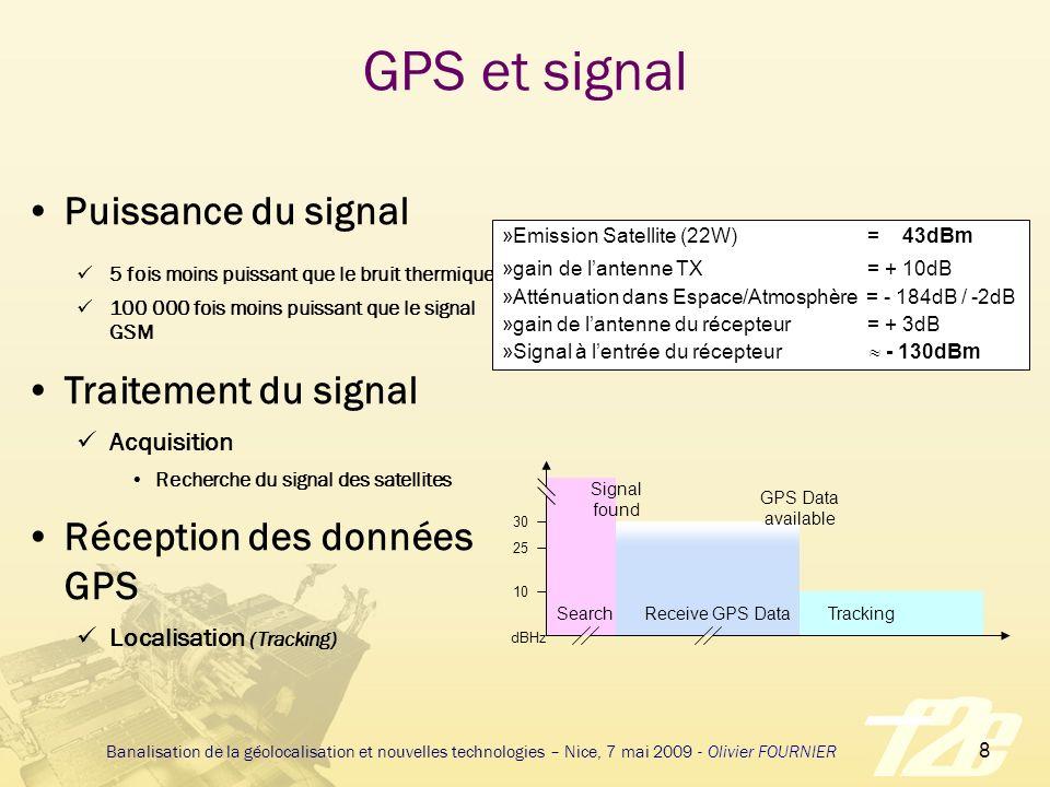 29 Banalisation de la géolocalisation et nouvelles technologies – Nice, 7 mai 2009 - Olivier FOURNIER 2007 – Les récepteurs GPS ont des caractéristiques étonnantes 50 canaux avec plus d 1 million de corrélateurs Plus d 1 million de corrélateurs Sensibilité de -145dBm à -162dBm en mode tracking Acquisition très rapide pour GPS et SBAS (Satellite Based Augmentation System – WAAS/MSAS/EGNOS/GAGAN)