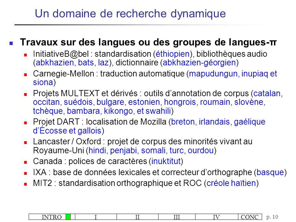 INTROIIIIIIIVCONC p. 10 Travaux sur des langues ou des groupes de langues-π InitiativeB@bel : standardisation (éthiopien), bibliothèques audio (abkhaz