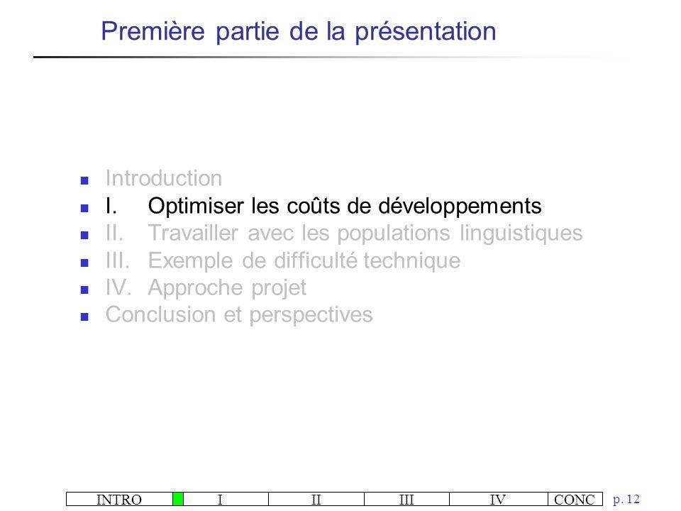 INTROIIIIIIIVCONC p. 12 Première partie de la présentation Introduction I.Optimiser les coûts de développements II.Travailler avec les populations lin