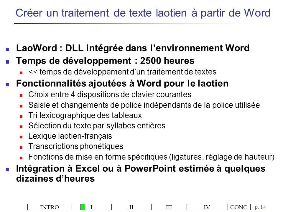 INTROIIIIIIIVCONC p. 14 LaoWord : DLL intégrée dans lenvironnement Word Temps de développement : 2500 heures << temps de développement dun traitement