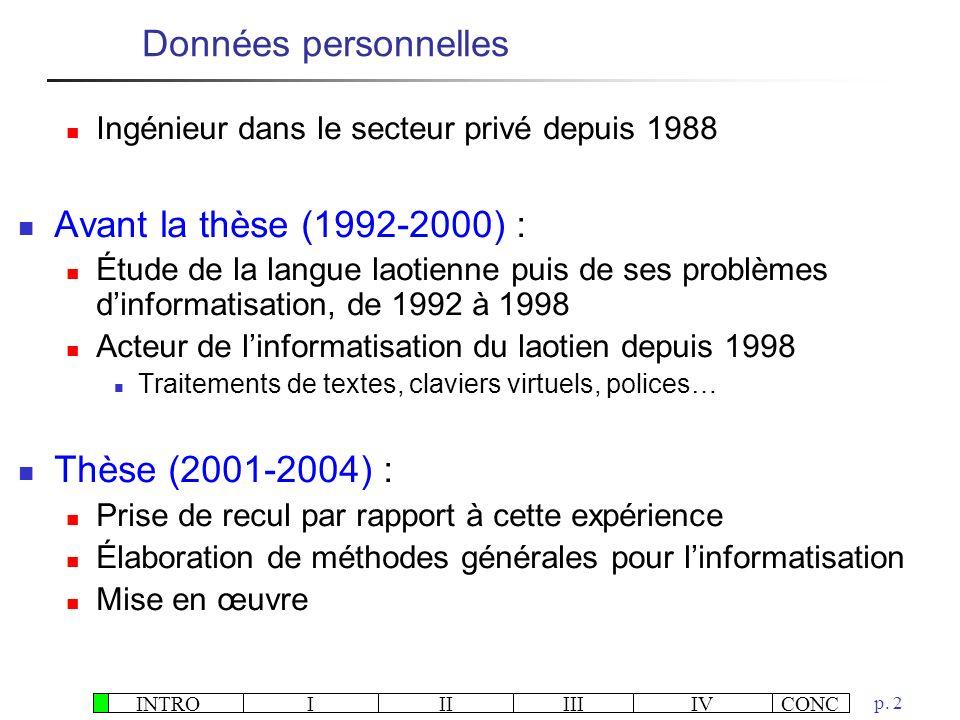 INTROIIIIIIIVCONC p. 2 Ingénieur dans le secteur privé depuis 1988 Avant la thèse (1992-2000) : Étude de la langue laotienne puis de ses problèmes din