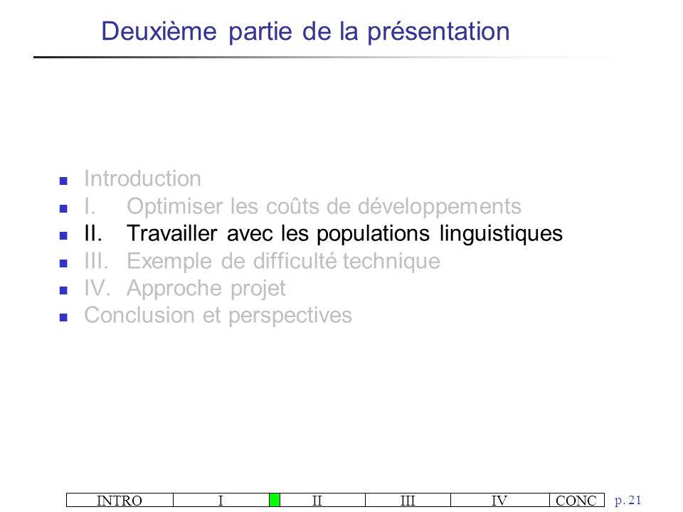 INTROIIIIIIIVCONC p. 21 Deuxième partie de la présentation Introduction I.Optimiser les coûts de développements II.Travailler avec les populations lin