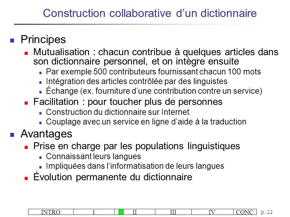 INTROIIIIIIIVCONC p. 22 Construction collaborative dun dictionnaire Principes Mutualisation : chacun contribue à quelques articles dans son dictionnai
