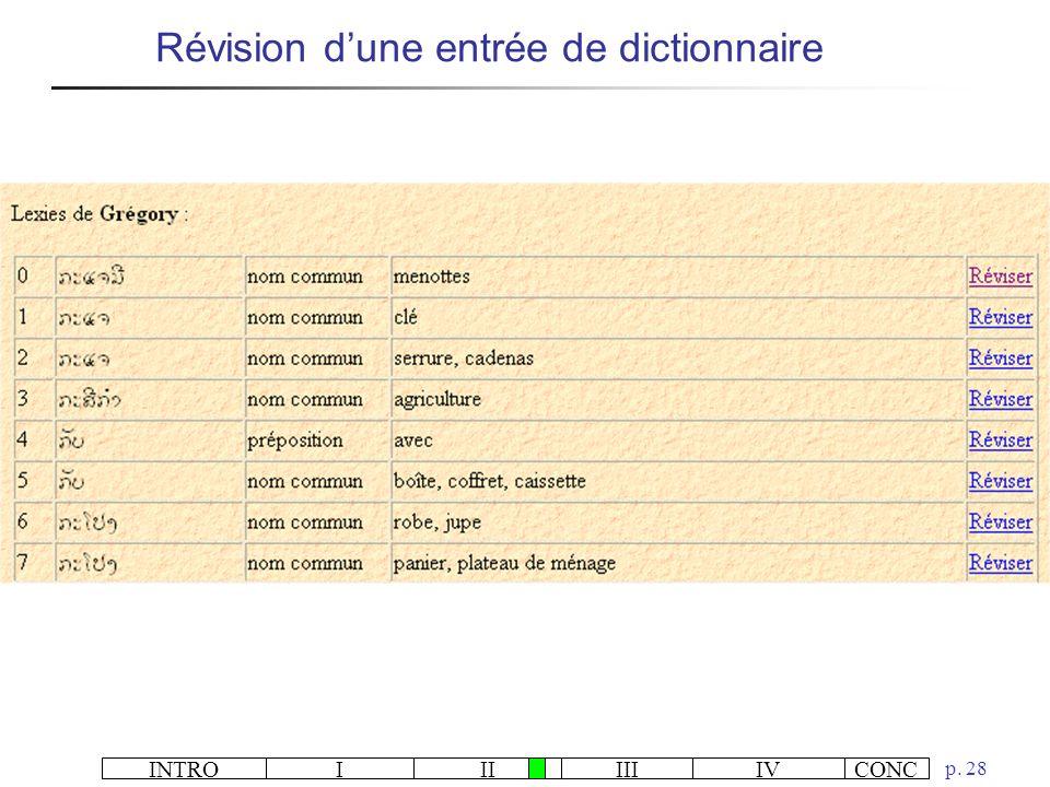 INTROIIIIIIIVCONC p. 28 Révision dune entrée de dictionnaire