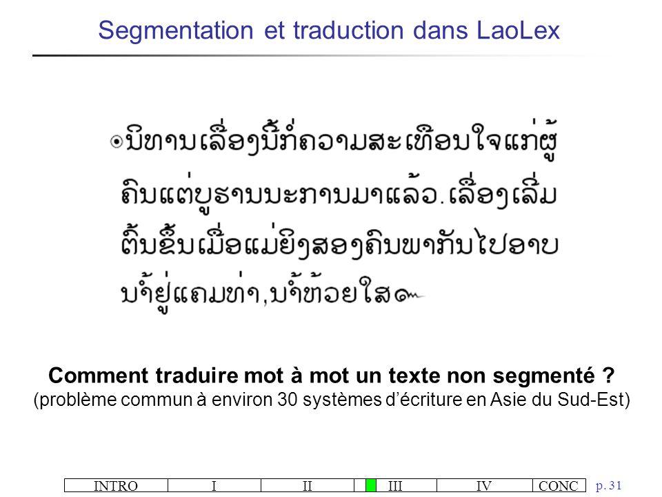 INTROIIIIIIIVCONC p. 31 Segmentation et traduction dans LaoLex Comment traduire mot à mot un texte non segmenté ? (problème commun à environ 30 systèm