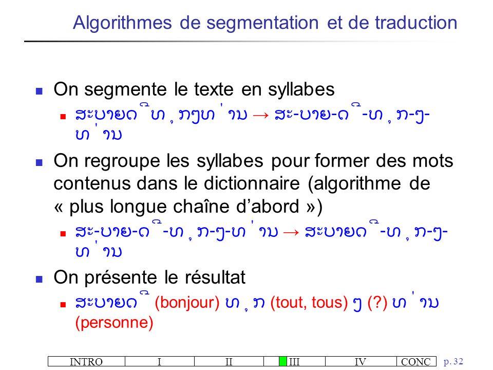 INTROIIIIIIIVCONC p. 32 On segmente le texte en syllabes - - - - - On regroupe les syllabes pour former des mots contenus dans le dictionnaire (algori