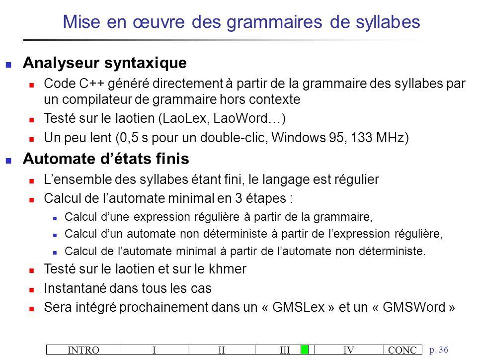 INTROIIIIIIIVCONC p. 36 Mise en œuvre des grammaires de syllabes Analyseur syntaxique Code C++ généré directement à partir de la grammaire des syllabe