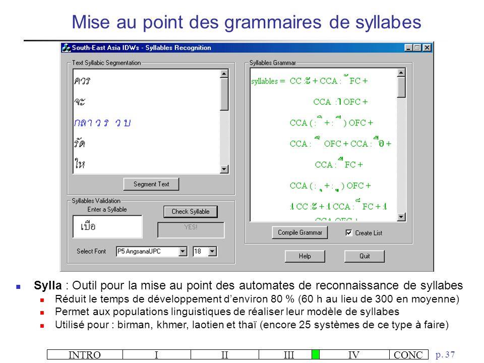 INTROIIIIIIIVCONC p. 37 Mise au point des grammaires de syllabes Sylla : Outil pour la mise au point des automates de reconnaissance de syllabes Rédui