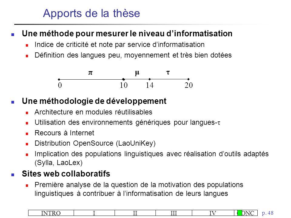 INTROIIIIIIIVCONC p. 48 Apports de la thèse Une méthode pour mesurer le niveau dinformatisation Indice de criticité et note par service dinformatisati