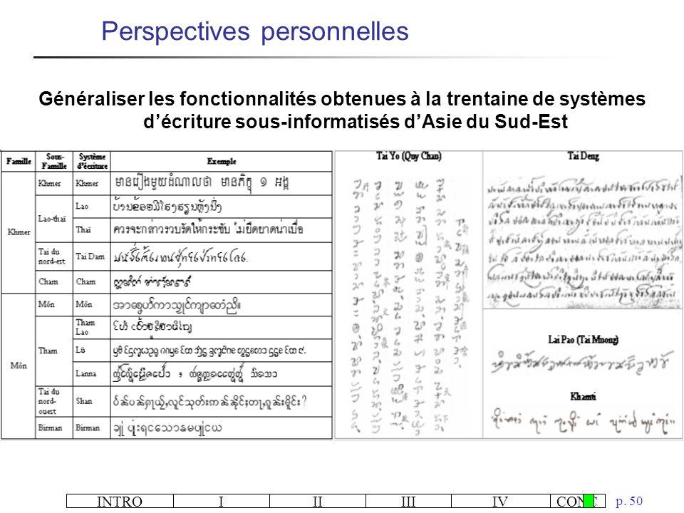 INTROIIIIIIIVCONC p. 50 Perspectives personnelles Généraliser les fonctionnalités obtenues à la trentaine de systèmes décriture sous-informatisés dAsi