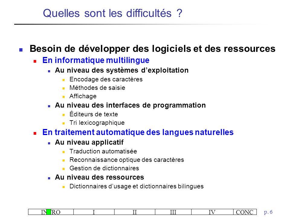 INTROIIIIIIIVCONC p. 6 Besoin de développer des logiciels et des ressources En informatique multilingue Au niveau des systèmes dexploitation Encodage
