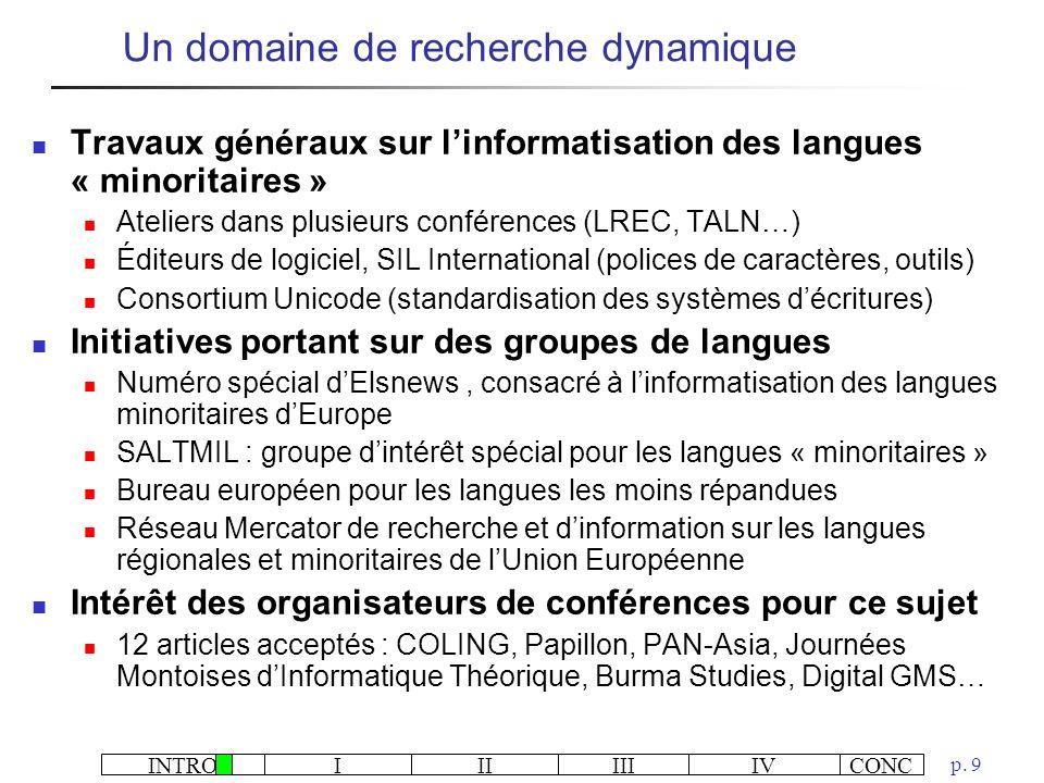 INTROIIIIIIIVCONC p. 9 Travaux généraux sur linformatisation des langues « minoritaires » Ateliers dans plusieurs conférences (LREC, TALN…) Éditeurs d