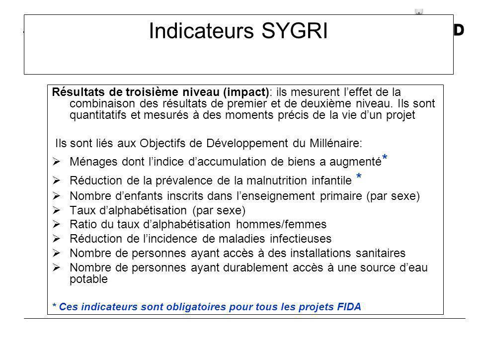Indicateurs SYGRI Résultats de troisième niveau (impact): ils mesurent leffet de la combinaison des résultats de premier et de deuxième niveau. Ils so